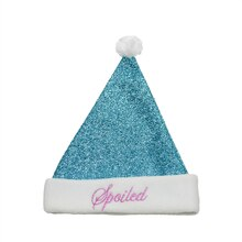 "Blue Metallic ""Spoiled"" Santa Hat w/ Fleece Border"